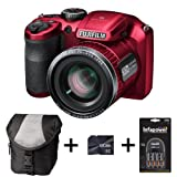 Fujifilm FinePix S4800 - Red + Case + 8GB Memory + 4 AA Batteries and Charger (16 MP, 30x Optical Zoom) 3.0 inch LCD