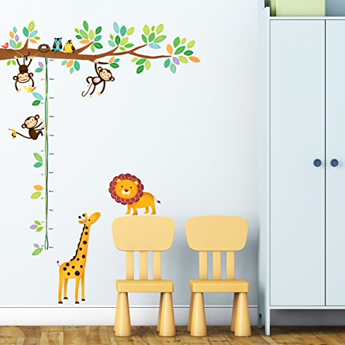 Decowall, DW-1402, Monkeys and Animals Height Chart Wall Stickers