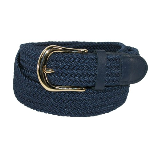 CTM® Mens Elastic Gold Buckle and Matching Tabs Braided Stretch Belt, Large, Navy