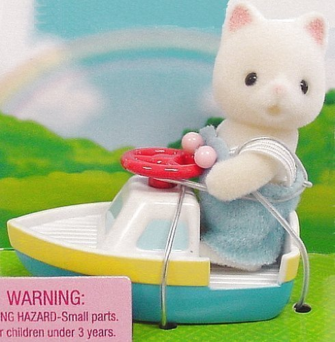 1 X Calico Critters - Baby Carry Case - Cat and Toy Boat - 1