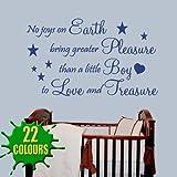 No Joys On Earth Boy - Wall Decal Sticker Quote baby nursery (Medium)