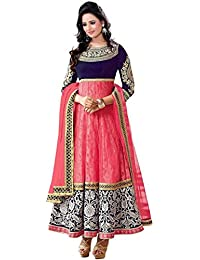 Banjara Women's Brocade & Georgette Anarkali Dress Material (R_MahiPink_Pink & Blue_Free Size_Semi Stitched)
