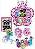 Pecoware Girls Neon Sparkling Bright Nail Polish Set Kits! 3 Polishes and Sequins Come With! Great for the Girly Girl or Any Kids! Butterfly or Princess Case