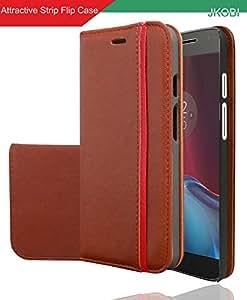 Jkobi Branded Professional Designed Magnetic PU Leather Flip Wallet Case Cover For Moto G Plus 4th Gen / Moto G4 -Leather Brown