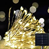 GLISTENY Solar Fairy String Lights Christmas Starry Light Copper Wire 15M 150 LED 8 Modes Waterproof IP67 Wire...