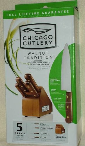 Chicago Cutlery Walnut Tradition 5 Piece Knife Block Set