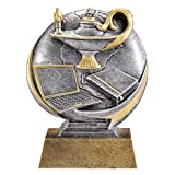 Lamp of Knowledge Motion Xtreme 3D Trophy | Academic Excellence Award | 5 Inch Tall - Customize Now - Decade Awards (Color: Gold, Silver, Tamaño: 5 inches tall)
