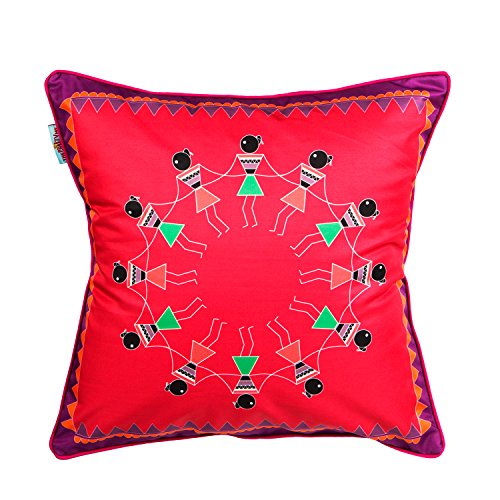 The Crazy Me Varli Dance Cushion Cover(16 By 16 Inch)