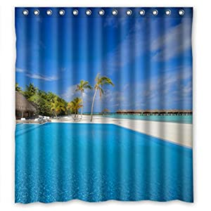 Beautiful blue swimming pool shower curtain Swimming pool shower curtain