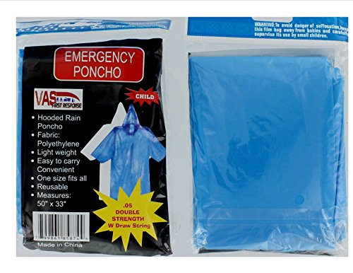 4-PACK-VAS-DOUBLE-STRENGTH-5-MIL-CHILDS-BLUE-50-x-33-EMERGENCY-HOODED-RAIN-PONCHO-WITH-HODD-SLEEVES-DRAW-STRING