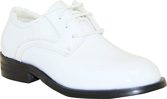 New Style VANGELO Toddler Boy Tuxedo Shoes TAB White Patent Dress Shoes Oxford Wrinke Free For Boys Clearance Outlet