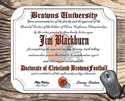 Cleveland Browns Ultimate Football Fan Personalized Diploma Mouse Pad - Perfect Gift