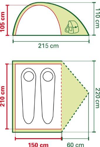 Coleman Zelt Crestline 2 Personen, grün, 150 x 210 x 105 cm -
