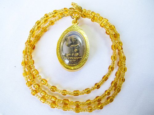 pg048-rare-luckynang-kwak-good-business-charm-gold-plate-frame-thai-amulet