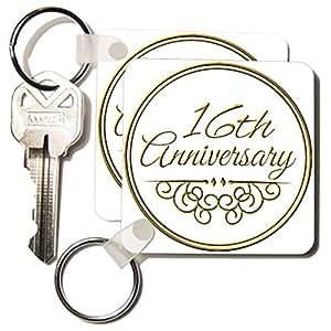 16th Wedding Anniversary Gift List : com : 3dRose 16th Anniversary giftgold text for celebrating wedding ...