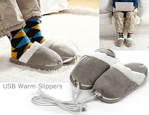 Men's Non-slip USB Heated Feet Warmer Slippers