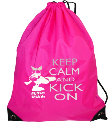 Funkyfilly® Girls School Drawstring Pony 'Silver Keep Calm And Kick On' Hot Pink Swim Gymsac Grooming Kit Bag To Wear Over The Shoulder. Size 45 X 34 Cms