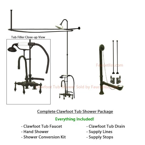 Oil Rubbed Bronze Clawfoot Tub Faucet Shower Kit with Enclosure