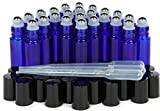 Vivaplex, 24, Cobalt Blue, 10 ml Glass Roll-on Bottles with Stainless Steel Roller Balls. 3 - 3 ml Droppers included