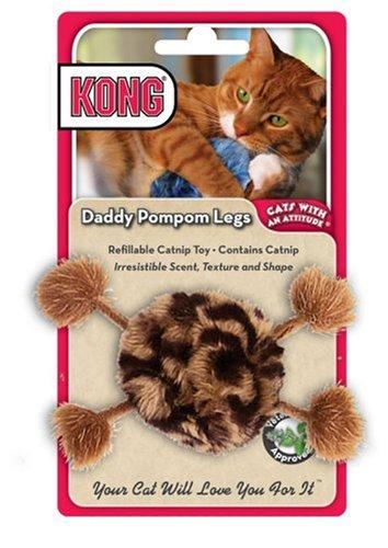 KONG Daddy Pompom Legs Catnip Toy, Cat Toy, Brown/Black