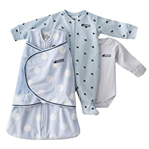 HALO SleepSack 3 Piece Chenille Swaddle Fashion Set, Blue Polka Dot, Newborn