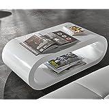 Wohnzimmertisch Lounge Club-Deluxe Hochglanz Weiss 90x45 cm Tisch oval
