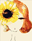 Greek Art Paintworks Paint Color By Number Kits,Sunflower and Woman with Short Hair,16-Inch by 20-Inch
