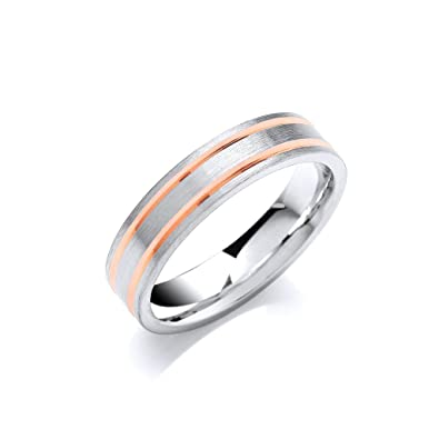 18ct White & Rose Gold Wedding Band Ring Made to order