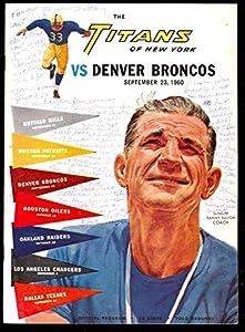 1960 New York Titans vs. Denver Broncos Program September 23 Polo Grounds by Topps