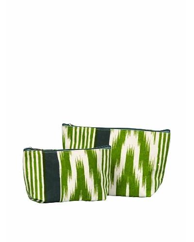 RockFlowerPaper Ikat Stripe Olive Zip Bags (Set of 2) As You See