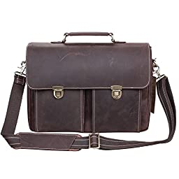 S-ZONE Vintage Crazy horse leather Flap-Over Laptop Case for 14 Inch Laptop Messenger Bag