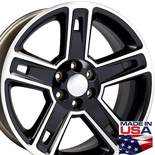 22x9 Wheel Fits GM Truck - Chevy Silverado Style Black Rim w/Mach'd Face (2015 Chevy Silverado Rims compare prices)