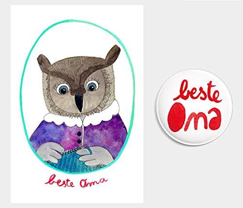 """Geschenke-Set """"beste Oma"""" Postkarte + Magnet (Geschenkidee zur Geburt/ Geburtstag/ Weihnachten, Schwangerschaft verkünden)"""