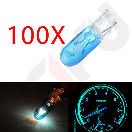 CCIYU 100 pcs Blue T5 Mini-Wedge Halogen 37 74 286 LED Interior Light Bulbs Dashboard Incandescent Light (1997 Toyota Tercel Dash Parts compare prices)