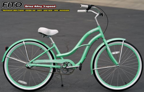 Aluminum Alloy Anti-Rust Frame, Fito Brisa Alloy 3-speed - Mint Green, women's Beach Cruiser Bike Bicycle, Shimano Nexus Equipped