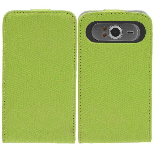 Miniturtle, Classic Luxury Pu Leather Vertical Notepad Flip Phone Case Cover And Clear Lcd Screen Protector Film For Windows Phone Htc Hd7 T9292 /T Mobile (Green Snake Skin)