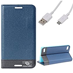 DMG BlackBerry Z3 Flip Cover, DMG PRaiders Premium Magnetic Wallet Stand Cover Case for BlackBerry Z3 (Pebble Blue) + Micro USB Data Cable