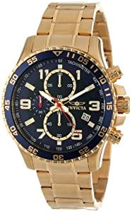 Invicta Specialty Chronograph Blue Dial 18kt Gold Ion-plated Mens Watch 14878