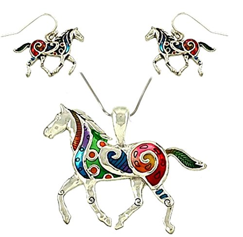 DianaL-Boutique-Colorful-Enameled-Horse-Pendant-Necklace-and-Earrings-Set-24-Chain
