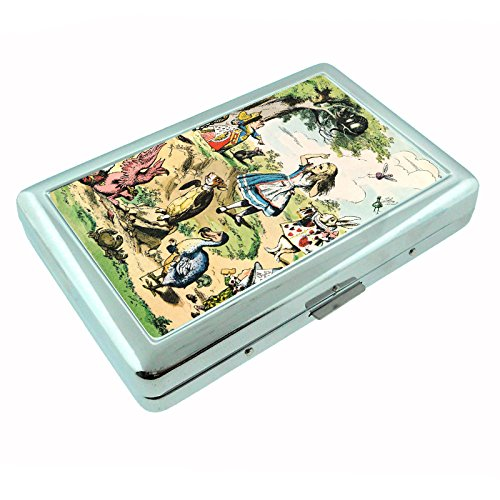 Vintage Alice in Wonderland D5 Silver Metal Cigarette Case John Tenniel Illustrations Fantasy Folklore