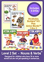 Level 2   -   Nouns & Verbs! Set   -   Appropriate For Kids with 50+ Words Not Speaking in Sentences-  5 DVDs