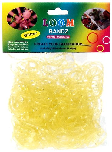 Rainbow Bandz Loom Bracelet 300 YELLOW GLITTER Rubber Bands with 'S' Clips - 1
