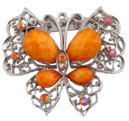 Ladies Silver with Orange Butterfly Brooch & Pin Pendant with Pear Shape Stones
