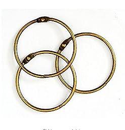 20PCS Large Vintage Bronze Heavy Duty Binding Ring Hinged/ Book Binder Ring /Loose Leaf Rings/Key Ring , 3.4 Inch Diameter
