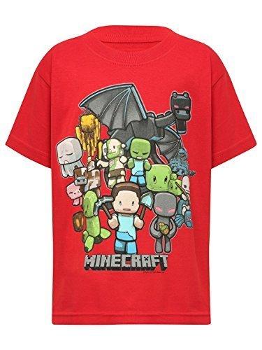 Minecraft-Camiseta-de-manga-corta-Estampado-Manga-corta-para-nio-Rojo-rosso-9-aos