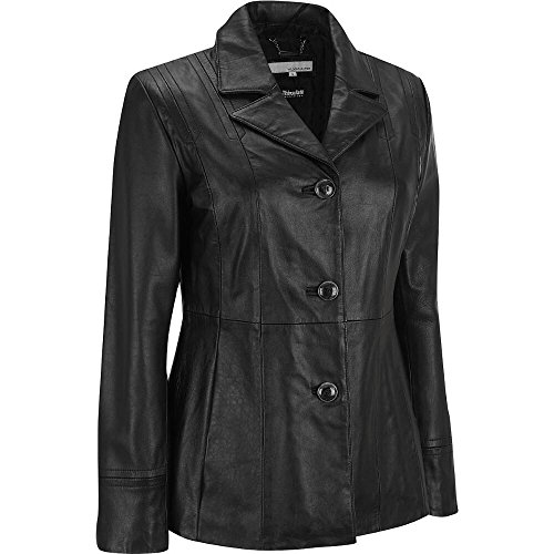 Wilsons Leather Womens Three Button Blazer W/ Thinsulate L Black
