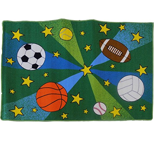 Sports Theme Large Kids Rug SPORTS BALL Area Rug 8' X 10