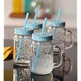 Quikpikk Mason Jar Clear With Blue Cap (480 Ml) (Set Of 2)
