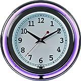 "Trademark Gameroom Purple Chrome Double Ring Neon Clock, 14"""