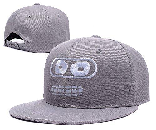 ZZZB Futurama Bender Face Logo Adjustable snapback Embroidery Hats Caps - Grey